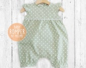 Baby Girl Rompers, Pastel Green Baby Romper suit,  Polka dots Spring/Summer baby romper suit