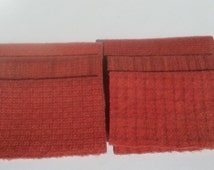 VINTAGE POMEGRANITE Hand Dyed felted wool fabric bundle - 8x6 -for Wool Applique, Penny Rugs, Sewing & Quilting  #748