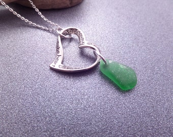 Friendship Necklace with Infinity Heart Charm and Scottish Sea Glass in Green with Engraved Love Poem