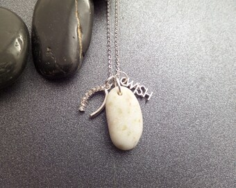 Good Luck Charm Wishbone Necklace with Scottish Iona Marble, Healing Stone from Scotland