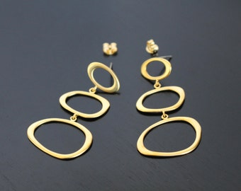 Jewelry findings, Matte Gold Tarnish resistant Round Teardrop, Plain ring earring findings, S14832