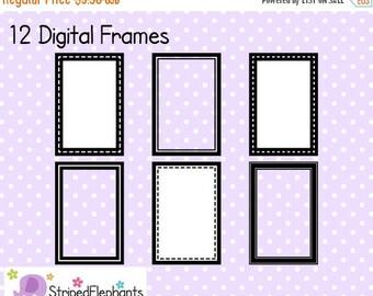 50% OFF SALE Rectangle Digital Frame Collection 1 - Clip Art Frames - Instant Download - Commercial Use