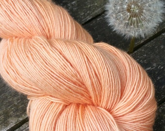 Peach Hand Dyed Sock Yarn, Singles Sock Yarn, light fingering weight yarn, Falkland Merino yarn, 100g