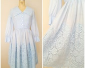 Vintage 1960s Dress / Baby Blue Cotton Lace / Carol Brent / Day Dress / Long Sleeves / 50s Dress