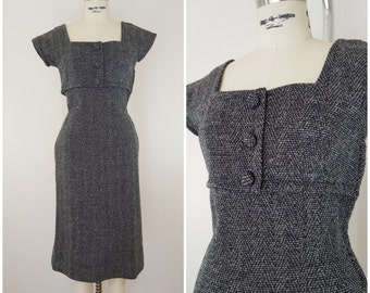 Vintage 1940s Wool Dress / Black and White / Fitted Dress / Winter Dress / XS