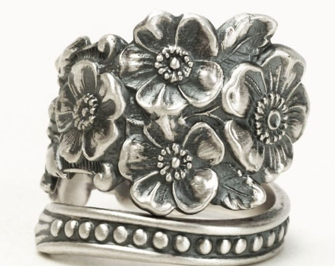 Wild Rose Ring, Sterling Silver Spoon Ring, Rosebud Ring, Gardeners Gift, 925 Adjustable Ring Size, Antique Flatware Codding Brothers (6527)