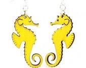Sea Horse Earrings - Cut from Reforested Wood