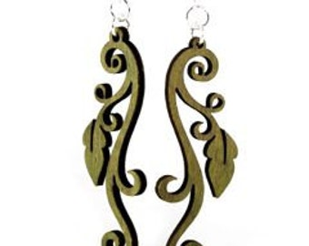 Leaf Vine Earrings - Laser Cut Wood Earrings from Reforested Trees