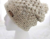 Oatmeal Puff Stitch Slouchy Hat with Pom Pom . Cute and Cozy. Made in all sizes