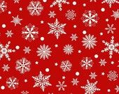 "End of Bolt 8.5"" of Purely Christmas Red with Cream Snowflakes by Mary Jane Carey of Holly Hill Quilt Designs"
