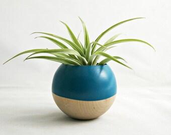 Sphere Pod Planter // Teal + Wood