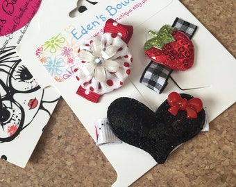 3 Simple Hair Red Clip Gift Set, Strawberrt Hair Clip, Ladybug Hair Clip, Flower Hair Clip, Everyday Hair Clips and Bows, Clippies