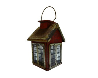 Old Painted Tin & Glass Figural House Lantern