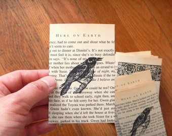 Limited SMALL Raven Crow Book Page Envelopes - Set of 10 / Unique Autumn Fall Spooky Halloween Paper Goods, DIY Scrapbooking Ephemera