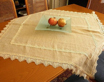Shabby Chic Elegant Linen Lace Tablecloth Beautiful Ecru French Cottage  Style Coffee Table Cover Dinning Table