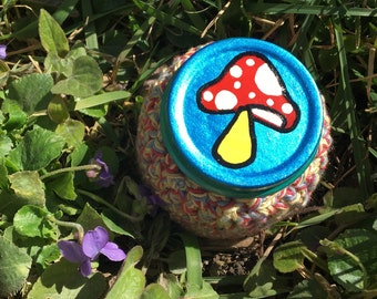 SALE! Mushroom Recycled Glass Stash Jar, Hand Wrapped, Hand Painted, small, medium, medicine, hippie, crochet, boho,OOAK