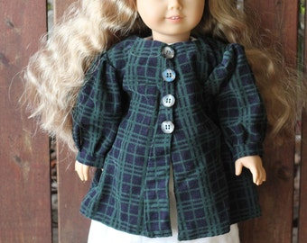 Kirsten's night linen gown and plaid cordaroy house coat for 18in American girl dolls