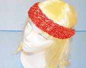 Red/Metallic Head Band, Crochet, Adjustable, Made in the U S A