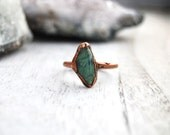 Amazonite gemstone ring | Amazonite and copper ring | Stacker ring | Mineral ring | Tumbled stone ring | Gemstone jewelry | Size 7