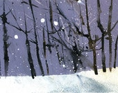 Original woodland painting forest painting - Winter treescape in dusky purple