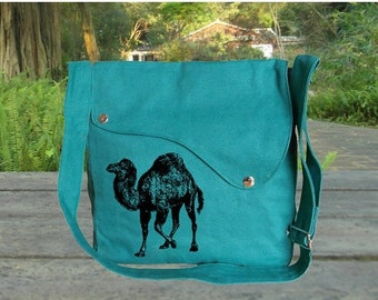 Holiday On Sale 10% off Personalized screenptinted turqoise green cotton canvas messenger bag, shoulder bag, crossbody bag, travel bag.