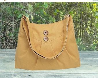 Holiday On Sale 10% off yellow cross body bag / messenger bag / shoulder bag / diaper bag  - cotton canvas