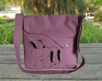 purple cotton canvas messenger bag, crossbody bag, canvas purse with hourses printed, peronalized screenprint