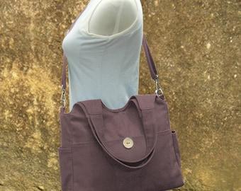 Brown diaper bag, canvas tote purse, womens purse, shoulder bag,  crossbody messenger bag for men and women