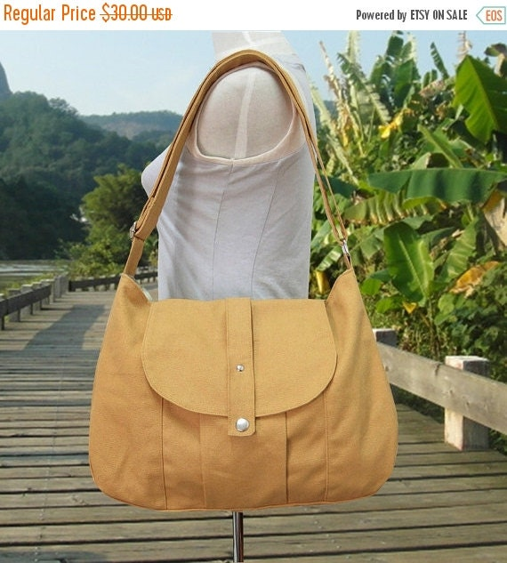 Summer Sale 10% off yellow cotton canvas bag / messenger bag / shoulder bag / everyday bag / diaper bag / cross body bag - 6 pockets