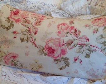 Rose Pillow Cover lovely romantic floral Pink and Green Shabby Chic