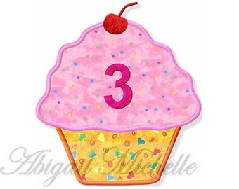 Applique Birthday Cupcakes with Ages - Machine Embroidery
