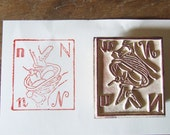 Birds nest Rubber Stamp letter N Vintage French Fruit