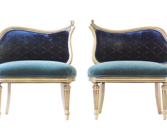 Pair of Hollywood Regency Upholstered Armchairs