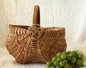 "Handmade Country Egg Basket 10"" w/ Solid Oak Handle"