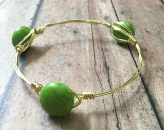 Green stackable mix and match wire wrapped bangle