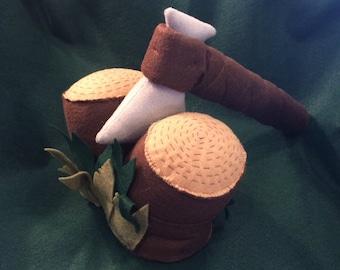Camping Handmade Felt Tools Hatchet And Logs