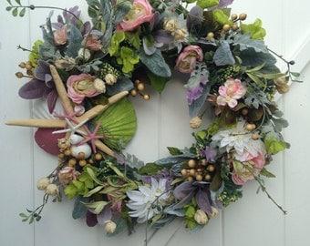 Victorian Beach Wreath with Starfish and Sand Dollars - Annie Gray Design-Beach Wedding Decoration-Victorian Wreath-Pink Wreath-Wedding-Bud