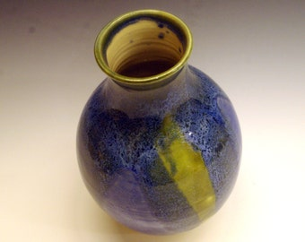 Spring vase, green, blue, white ivory, hand made, born of fire