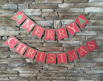 Merry Christmas banner, holiday banner, Christmas tree banner, red green and gold banner