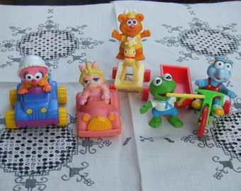 Vintage Set of Muppet Babies and Vehicles. McDonalds 80's Toys. Each Different.