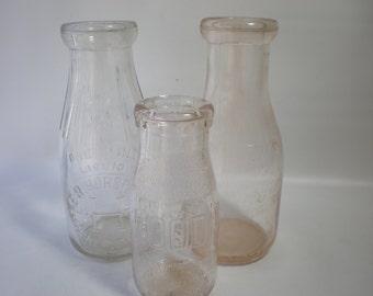 Nice Old Glass Milk Bottles Set of 3
