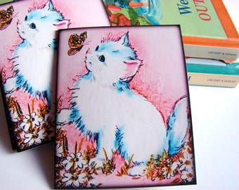 Kitty Cat Note Card Set * Fluffy White Kitten Watching A Gold Butterfly Field Of Flowers Vintage Retro - 4 Sm Greeting Cards