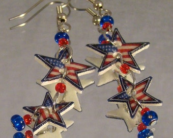 American Flag Star double dangle earrings - Stars and Stripes - Patriot Jewelry