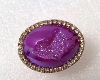 LOVE SALE Amazing Titanium Purple druzy sterling silver ring