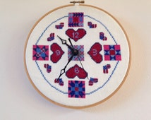 Vintage wall clock, Cross stitched clock, primitive wall, amish country decor, Kitchen clock, embroidered clock, handmade clock