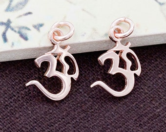 2 of 925 Sterling Silver Rose Gold Vermeil Style Ohm Charms 11.5x12mm. :pg0147