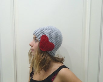 Crocheted GRAY HAT,BERET with heart,earflap hat,crocheted hat-red heart