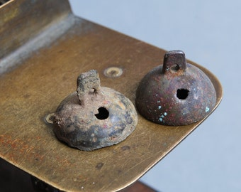 Set of 2 antique parts of brass jingle bells. Black patina of time.