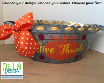 Personalized Fall or Thanksgiving scalloped oval metal bucket, tub, Pumpkin & family name or saying, table centerpiece or hostess gift