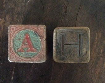 Antique Wooden Toy Blocks with Letters Set of Two / Letter A Letter H